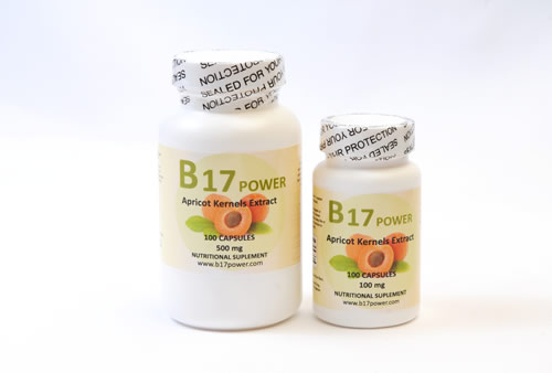 B17 Apricot Kernel Extract 500mg and 100mg capsules